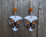 Orange and Black Butterfly Guitar Pick Earrings with Orange Pave Beads