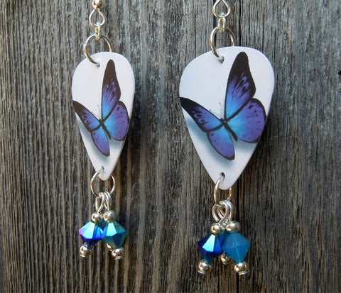 Blue and Purple Butterfly Guitar Pick Earrings with Blue Crystal Dangles