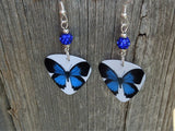Blue Butterfly Guitar Pick Earrings with Blue Pave Beads