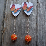 Orange Butterfly Guitar Pick Earrings with Orange Rhinestone Dangles