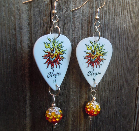 Crazy Sun Guitar Pick Earrings with Ombre Pave Bead Dangles