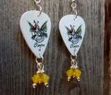 Wasp Guitar Pick Earrings with Yellow Opal Swarovski Crystals