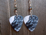 Owl Guitar Pick Earrings with Swarovski Crystals