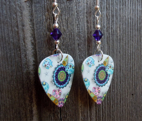 Under The Sea Design Guitar Pick Earrings with Purple Swarovski Crystals