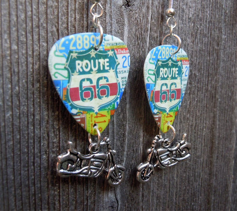 Route 66 Guitar Pick Earrings with Motorcycle Charm Dangles