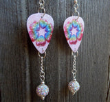 Rainbow Hearts Guitar Pick Earrings with White AB Pave Bead Dangles
