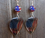Transparent American Flag Guitar Pick Earrings with American Flag Pave Bead Dangless