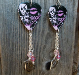 Girly Skull Rock n Roll Guitar Pick Earrings with Charm and Swarovski Crystal Dangles
