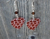 Giraffe Patterned Guitar Pick Earrings with Brown Swarovski Crystals