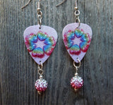 Rainbow Hearts Guitar Pick Earrings with Pink Ombre Pave Beads