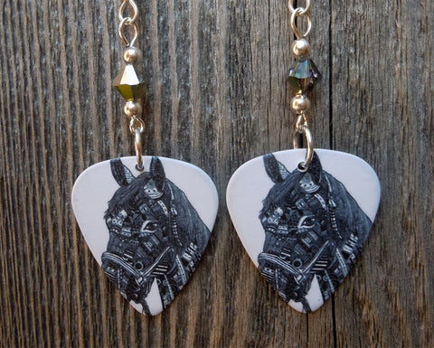Horse Guitar Pick Earrings with Swarovski Crystals