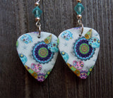 Under The Sea Design Guitar Pick Earrings with Blue Swarovski Crystals