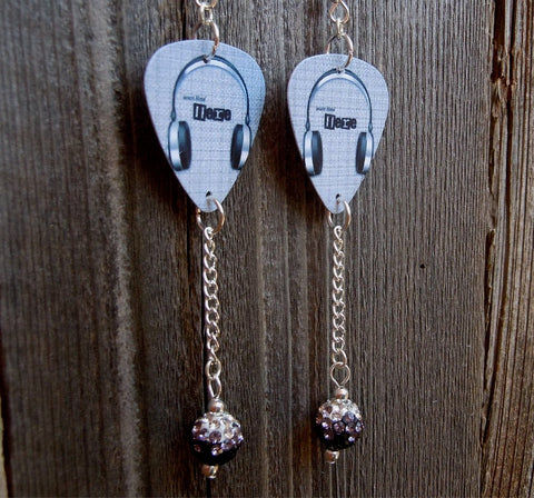 Headphone Guitar Pick Earrings with Black Ombre Pave Bead Dangles