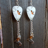 Musical Hummingbird Guitar Pick Earrings with Silver Charm and Swarovski Crystal Dangles