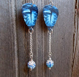 Beautiful Blue Eyes Guitar Pick Earrings with Blue Ombre Pave Dangles