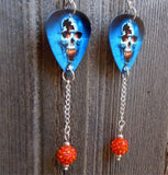 Skull on Fire Guitar Pick Earrings with Orange Pave Bead Dangles