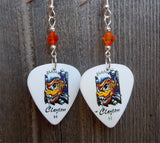 Monster Fish Guitar Pick Earrings with Orange Swarovski Crystals