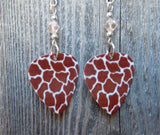 Giraffe Patterned Guitar Pick Earrings with Very Light Brown Swarovski Crystals