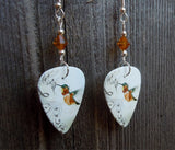 Musical Hummingbird Guitar Pick Earrings with Amber Swarovski Crystals