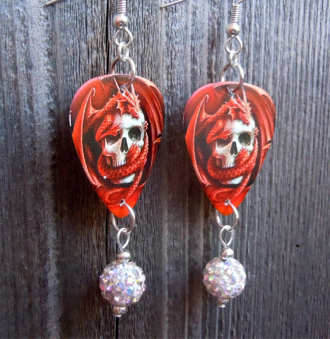 Red Dragon Wrapped Around A Skull Guitar Pick Earrings with White AB Pave Bead Dangles