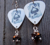 Skull Ace of Spades Earrings with Rose Gold Swarovski Crystal Dangles