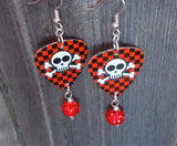 Skull and Crossbones on Checkered Background Guitar Pick Earrings with Red Pave Bead Dangles