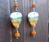 Paul Cezanne Bords d'une rivière (Riverbanks) Guitar Pick Earrings with Orange Pave Beads