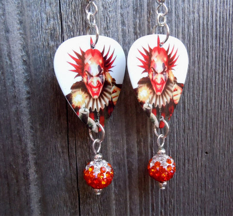 Evil Clown with a Bomb Guitar Picks with Orange Ombre Pave Beads