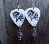 Angel and Devil Skull Guitar Pick Earrings with Grey Pave Bead Dangles