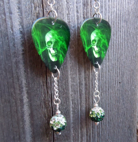 Green Smokey Skull Guitar Pick Earrings with Ombre Pave Bead Dangles