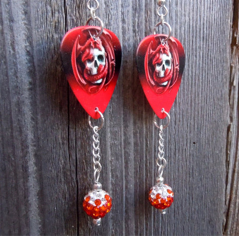 Red Dragon Wrapped Around A Skull Guitar Pick Earrings with Ombre Pave Beads