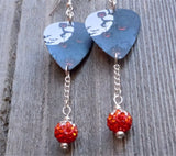 Jack o Lantern Tree Guitar Pick Earrings with Orange Ombre Pave Bead Dangles