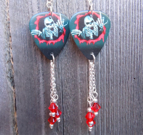 Skeleton Flipping the Bird Guitar Pick Earrings with Red Swarovski Crystal Dangles