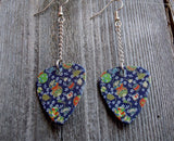 Dangling Blue Flowered Guitar Pick Earrings