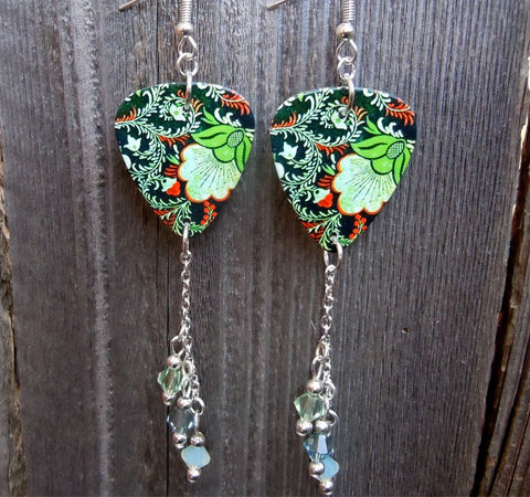 Black, Green and Orange Flowered Guitar Pick Earrings with Swarovski Crystal Dangles