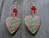 Beautiful Berries. Flowers and Vines Guitar Pick Earrings with Hyacinth Crystals