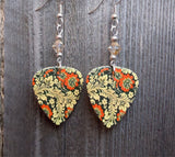 Orange Flowers and Leaves on a Black Background Guitar Pick Earrings with Swarovski Crystals