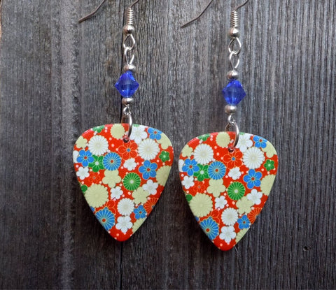 Flowered Guitar Pick Earrings with Blue Swarovski Crystals