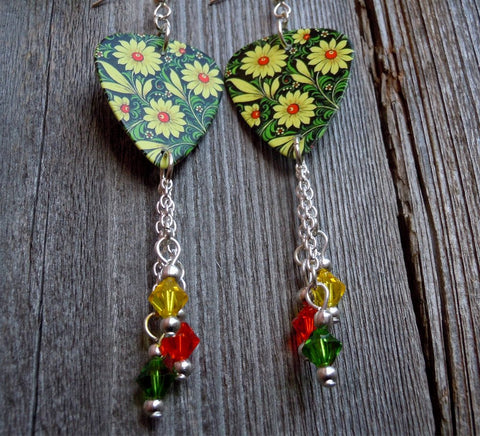 Daisy Guitar Pick Earrings with Swarovski Crystals