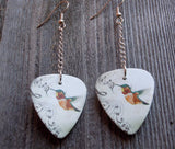 Dangling Musical Hummingbird Guitar Pick Earrings
