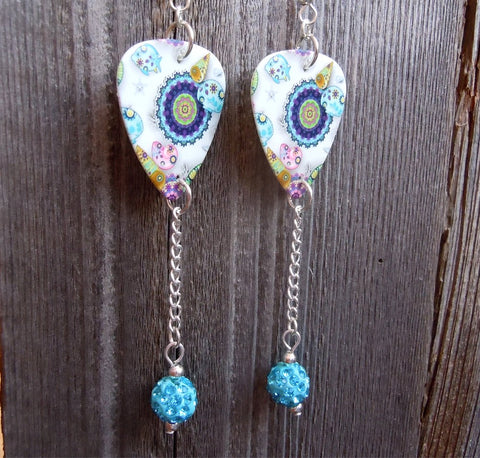 Under The Sea Design Guitar Pick Earrings with Aqua Blue Pave Bead Dangles