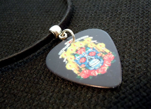 Sugar Skull and Candles Guitar Pick Necklace on Black Suede Cord