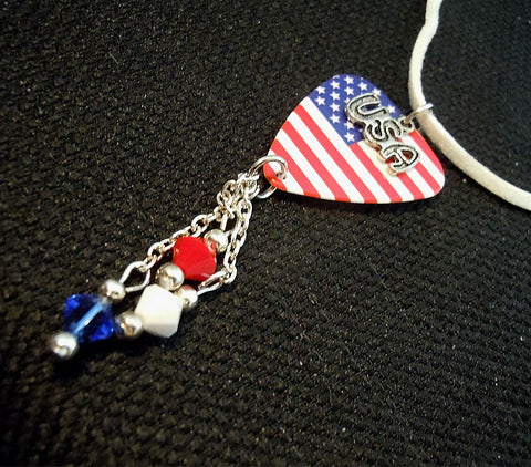 American Flag Guitar Pick Necklace with USA Charm and Swarovski Crystals on White Suede Cord