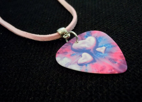 Pink and Purple Hearts Guitar Pick Necklace on Pink Suede Cord