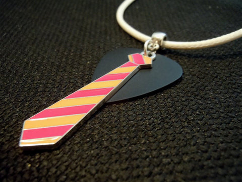 Orange and Pink Tie with a Black Guitar Pick on a White Rolled Cord Necklace