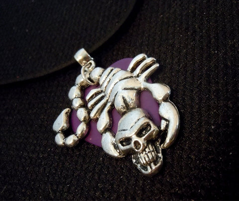 Skull Scorpion with a Purple Guitar Pick on a Black Suede Cord Necklace