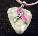 Pink Ribbon Survivor Charm on White MOP Guitar Pick Necklace with Pink Suede Cord