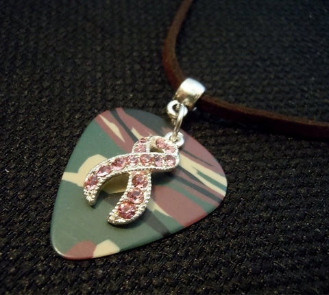 Pink Ribbon Crystal Charm on Camo Guitar Pick Necklace on Brown Suede Cord