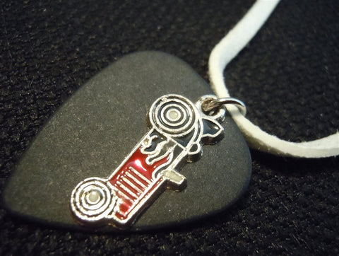 Black Guitar Pick with a Red Race Car Charm on a White Suede Cord Necklace