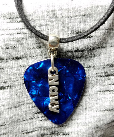 Navy Charm on Blue MOP Guitar Pick Necklace on Black Suede Cord